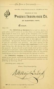 Phœnix Insurance Co. letterhead