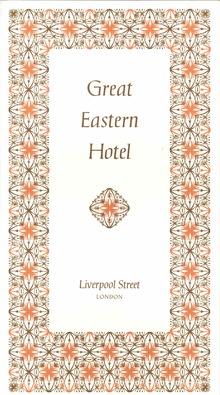 Great Eastern Hotel menu card