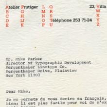 Adrian Frutiger letterheads (1970, 1974)