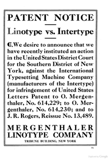 "Linotype Ad: ""Linotype vs. Intertype"""