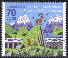 """""""Die Alpen – Vielfalt in Europa"""" stamp"""