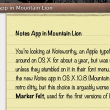 OS X 10.8 (Mountain Lion) Notes App