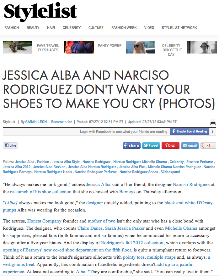 Jessica Alba And Narciso Rodriguez Don t Want