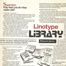 Linotype Library ad in <cite>U&lc</cite>, 1992