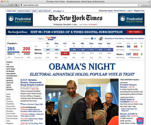 <cite>New York Times</cite> announces Obama's second term with webfont headlines