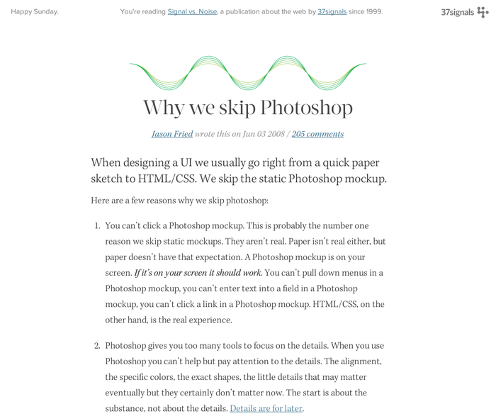 Why we skip Photoshop by Jason Fried of 37sig