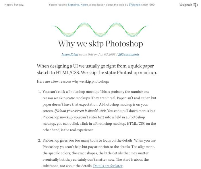 Why we skip Photoshop by Jason Fried of 37sig
