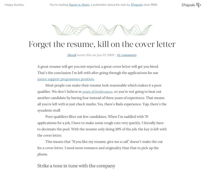Forget the resume  kill on the cover letter b