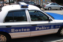 Classic Boston Police logo and cruiser