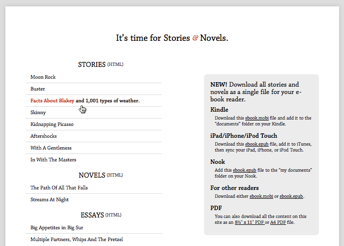 Stories & Novels Index Page