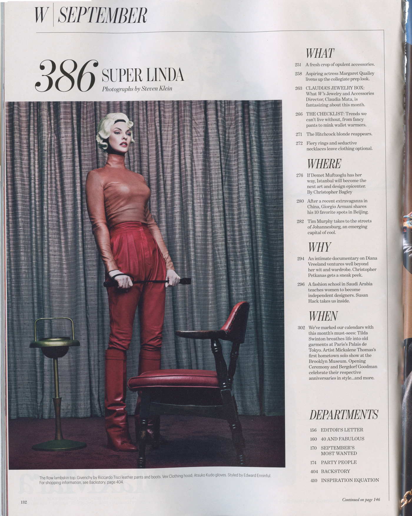 W Magazine, Sept. 2012 - Table of contents