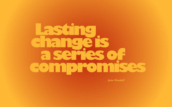 """""""Lasting change is a series of compromises"""""""