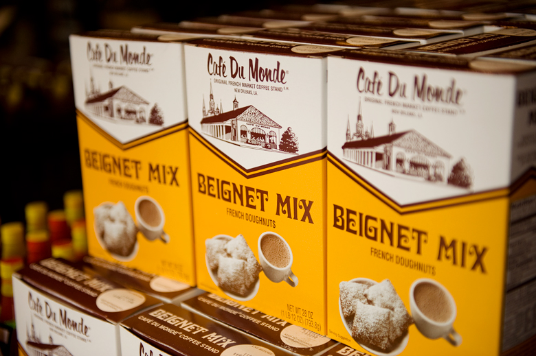 Café du monde beignet mix and coffee packaging fonts in use
