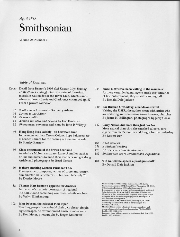 Smithsonian magazine table of contents (1989 & 2013) 2