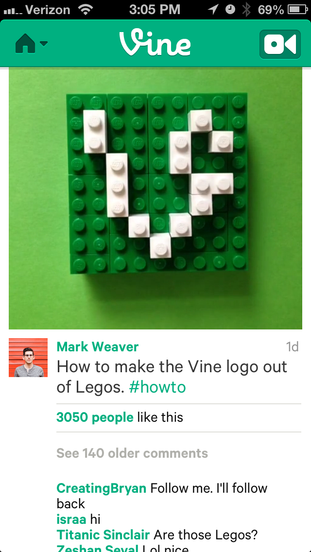 A Vine post on the iPhone.