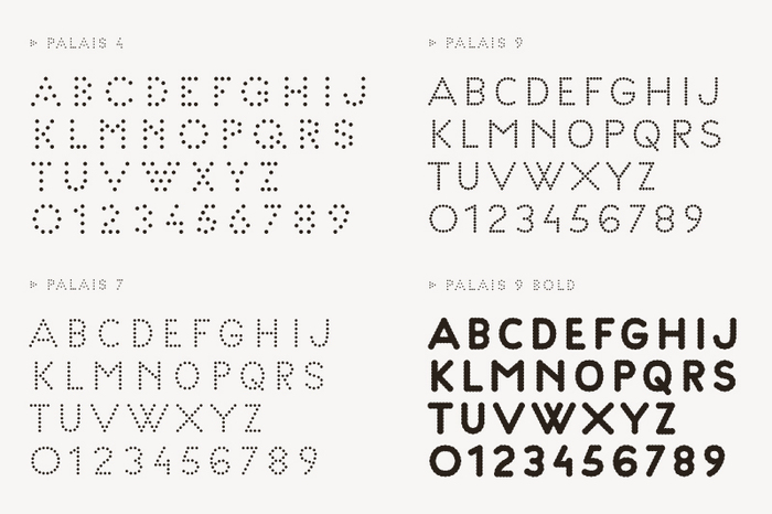 Palais typeface by Helmo for Palais de Tokyo in 4, 7, 9 and 9 Bold interrations.