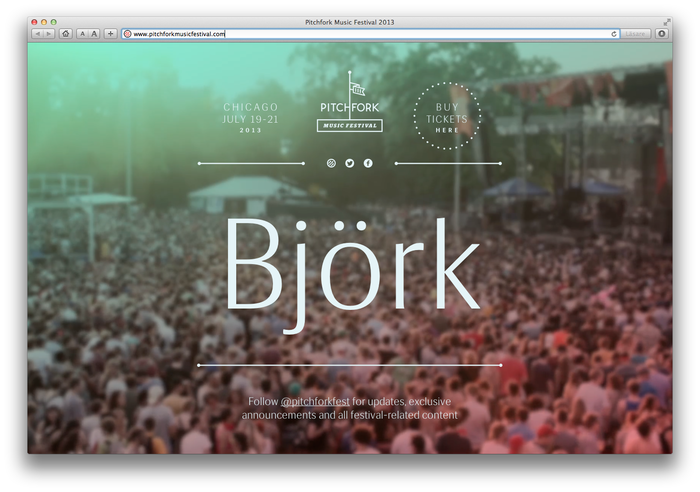 Pitchfork Music Festival, 2013 (Announcement) 2