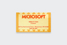 Microsoft logo and Bill Gates' business card, 1975
