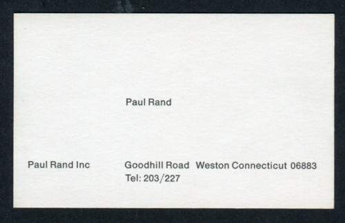 Paul rands business card fonts in use paul rands business card reheart Images