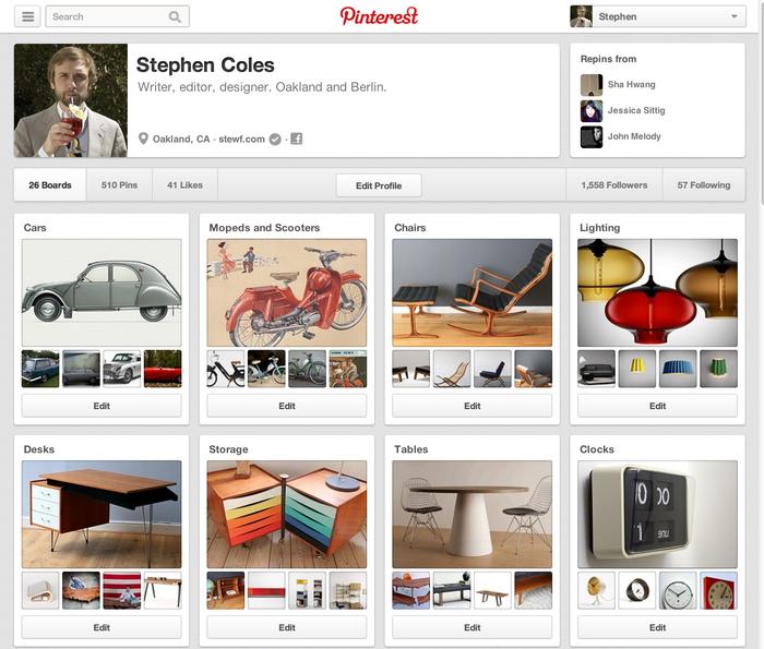 Pinterest.com (2013 redesign) 3