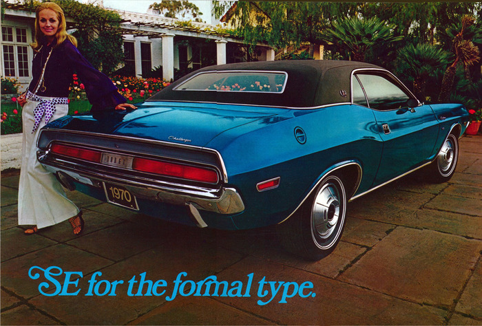 "Dodge Challenger ad: ""SE for the formal type"""