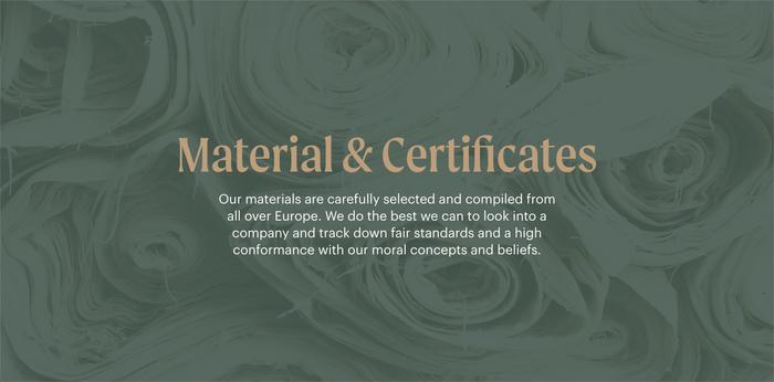 Material & Certificates header.