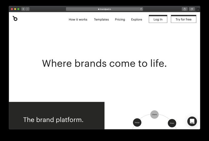Brandpad's website typeset in Graphik (default)