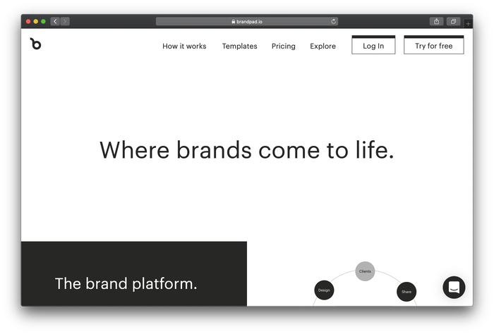 Brandpad's website typeset in Graphik (default)