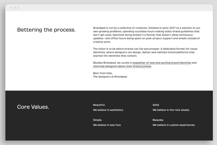 Brandpad's website typeset in Gangster Grotesk (week one)