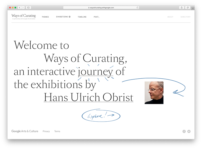 Hans Ulrich Obrist: Ways of Curating website 1