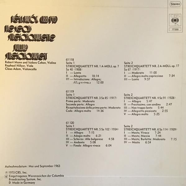 Juilliard Streichquartett, Béla Bartók – Die Sechs Streichquartette album art 2