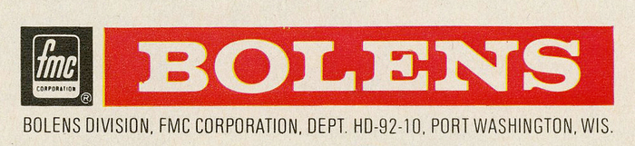 Detail. The Bolens logo uses caps from  fett, reversed in a red field. The address is in 47. Yes, Univers – the epitome of typographic sobriety – got the swash treatment, too.