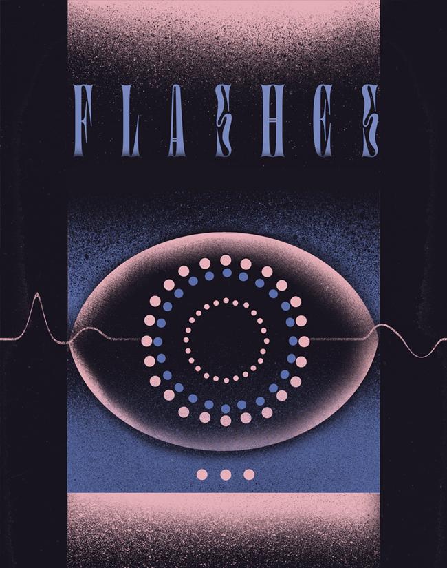 """Flashes"" poster for AïOLI Gdańsk"