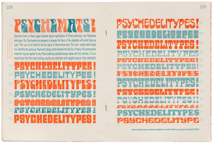 "Spread from Photo-Lettering's Psychedelitypes catalog with a demonstration of various ""Psychemats""."