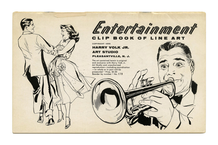 """""""Entertainment"""" (No. 179). The title is set in Quaker, an inline version derived from the solid . Quaker's upright sibling was named Quartz – at Filmotype, names starting with Q identified """"novelty"""" styles."""