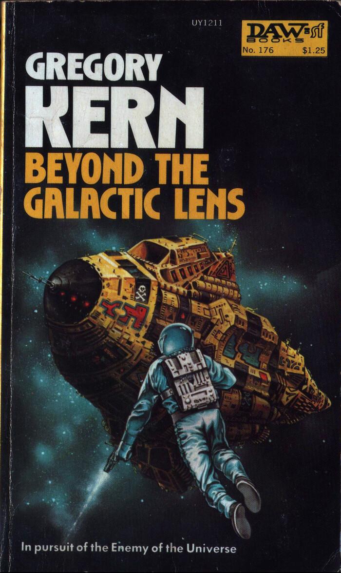 Beyond the Galactic Lens (Cap Kennedy #16, 1975). Cover art by Eddie Jones. [More info on ISFDB]