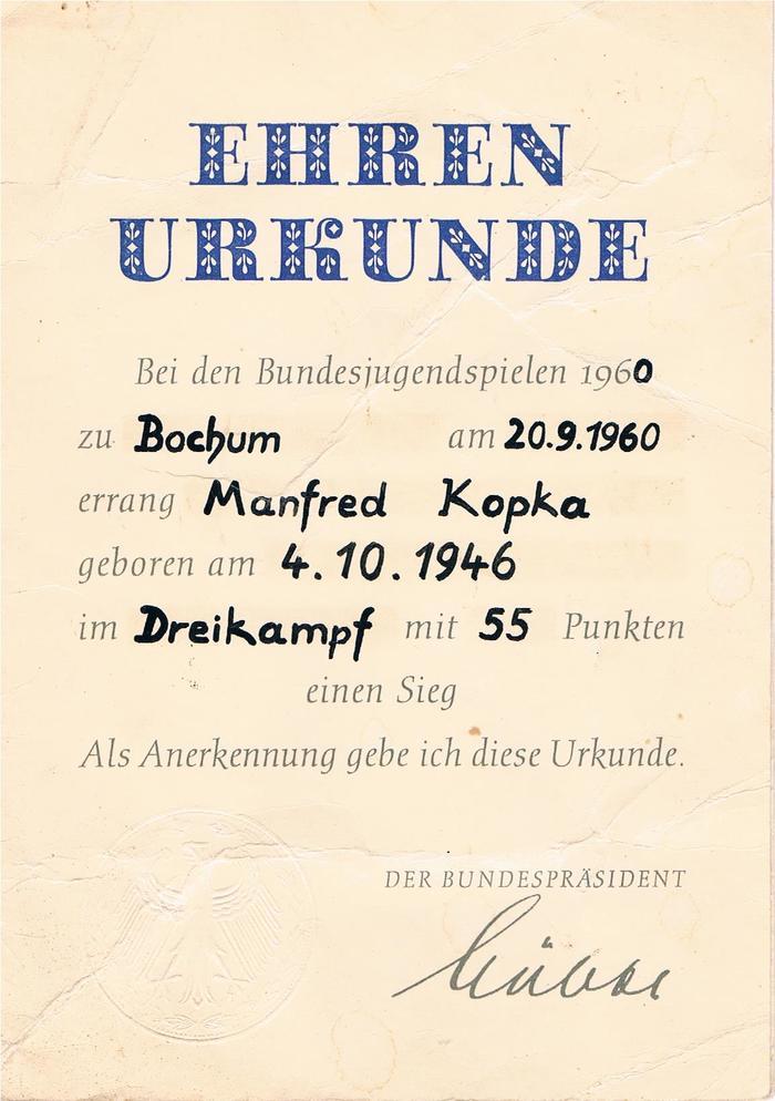 Ehrenurkunde Bundesjugendspiele (1960)