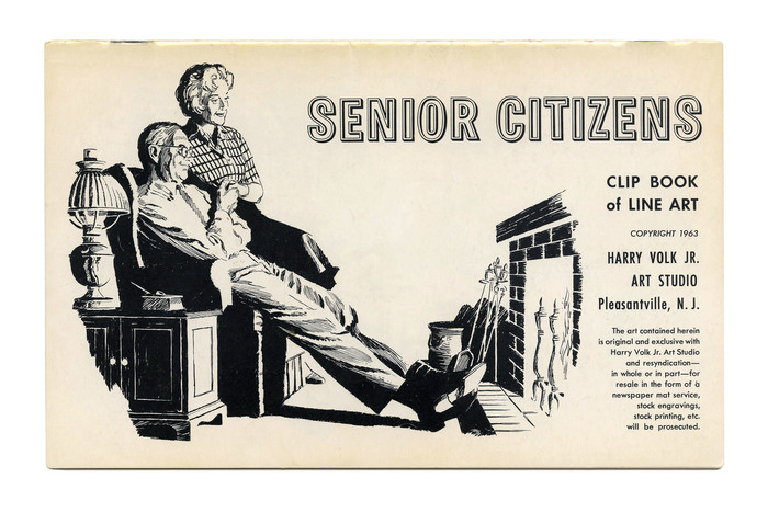 """Senior Citizens"" (No. 373). The title is set in Quail, another face from Filmotype's range of ""novelty"" faces, issued sometime after 1955. This open grotesque with extra contour is not unlike Stephenson Blake's Echo, but has only a very restrained shade and no lowercase. The text is in  and ."