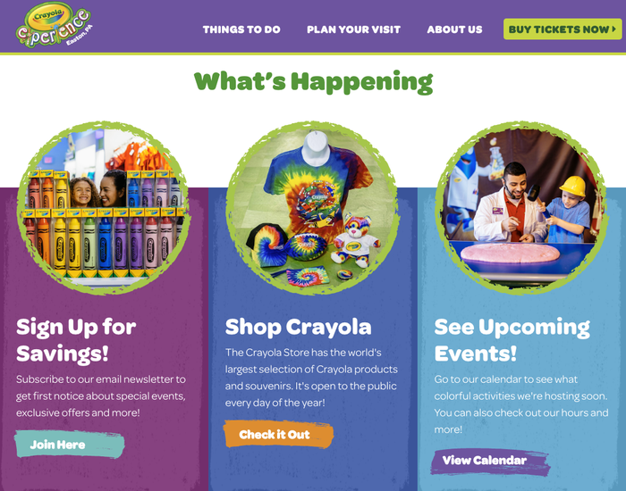 Contrasting weights of Omnes on the Crayola Experience website.