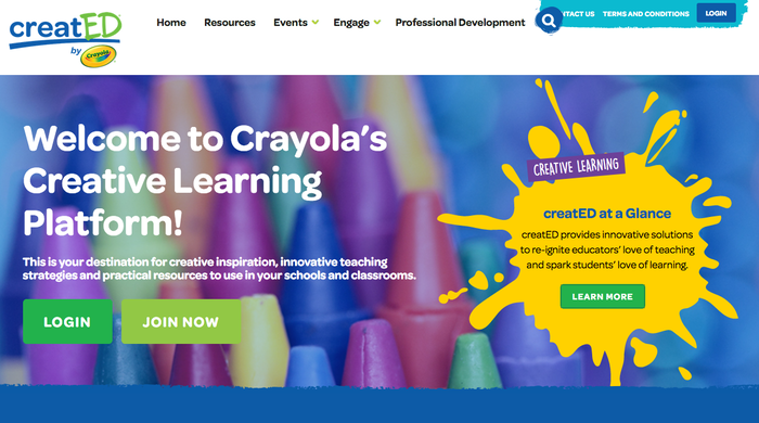 Homepage of creatED, Crayola's creative learning platform.