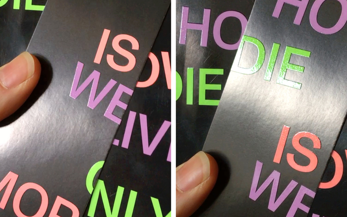 The title has a glossy UV coating, some extra covers have been cut into halves to make bookmarks.