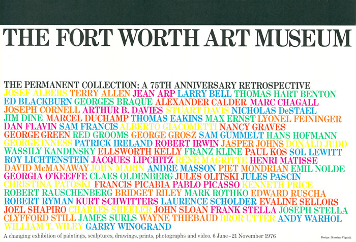Fort Worth Art Museum – The Permanent Collection: A 75th Anniversary Retrospective exhibition poster