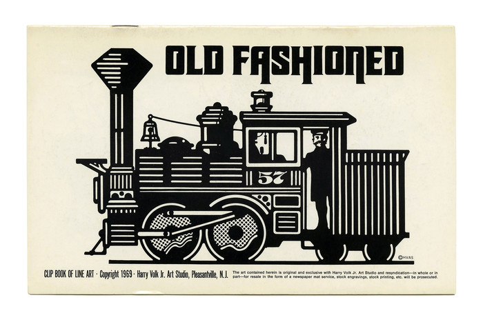 """""""Old Fashioned"""" (No. 186), featuring a modified version of Othello or similar for the headline. It's distinguished by notches in the counters, descending stems, and tiny serifs (like  or ). [Edit: It's , see comments.] Like the pictured locomotive, Othello was old-fashioned at the time of this booklet's publication: Originally designed by Gustave F. Schroeder in the late 1800s, it was revived by Morris Fuller Benton for American Typefounders (ATF) in 1934."""