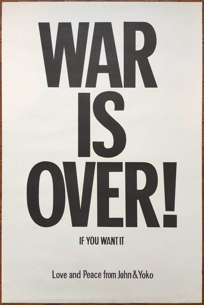 Original WAR IS OVER! poster with letterforms that are similar but noticeably different from Franklin Gothic.