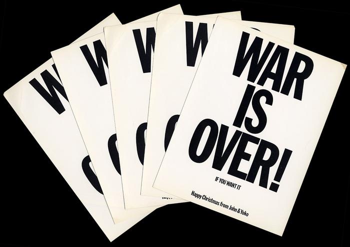 Original WAR IS OVER! postcards.
