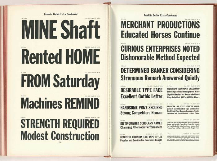 1912 type specimen of Franklin Gothic Extra Condensed from the American Type Founders Company.