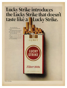 Lucky Strike Filter 100's ad