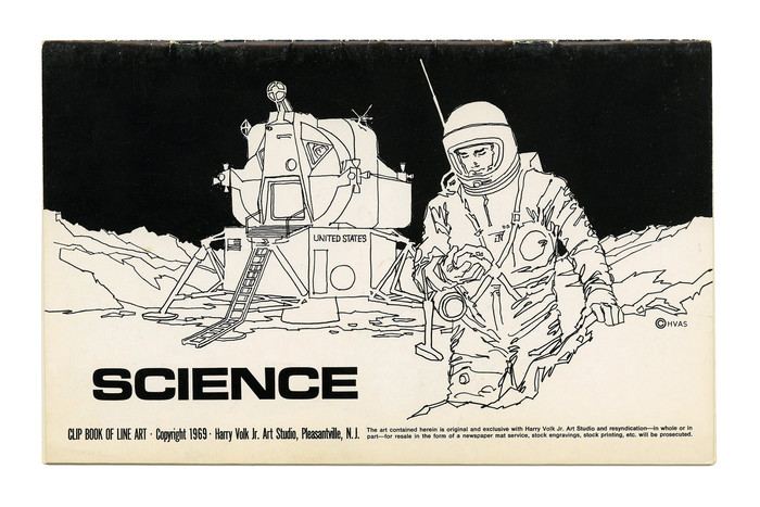 """""""Science"""" (No. 523) is at the opposite end of the spectrum. The depiction of an astronaut in front of the Apollo 11 Lunar Module Eagle is accompanied by the futuristic Eurostile Bold Extended, Aldo Novarese's extension of , originally designed by Alessandro Butti  for Nebiolo in the 1950s. As in """"Old Fashioned"""", the bottom lines use Alternate Gothic Compressed and Helvetica."""