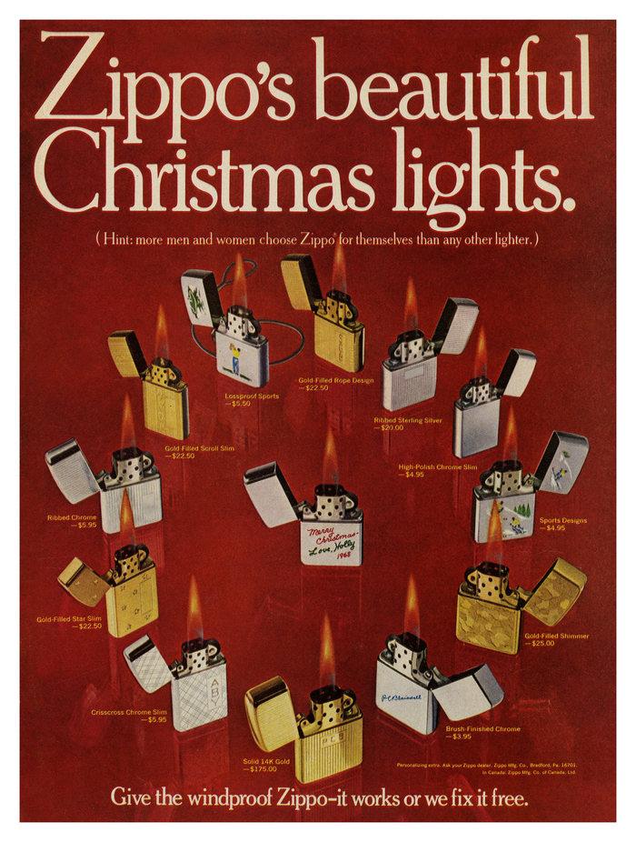 """Zippo's beautiful Christmas lights"" ad"