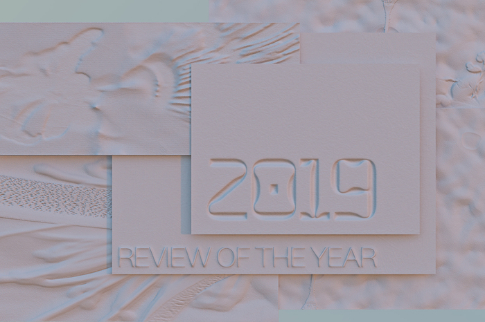 The two fonts in use for the identity for Review of the Year, as seen on the